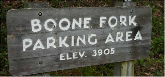 boone fork sign parking area
