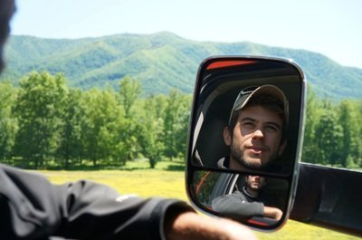 man in truck mirror smoky mountains
