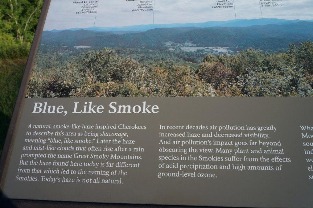 blue like smoke smoky mountains sign