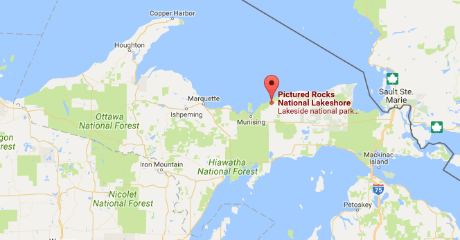 pictured rocks michigan map