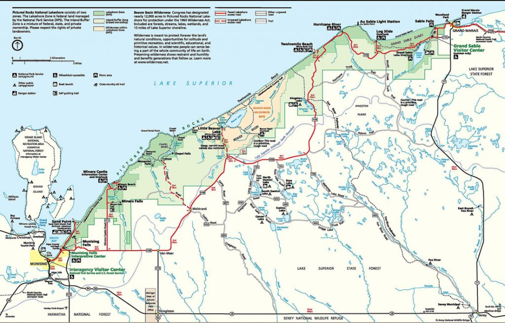 pictured rocks lakeshore map