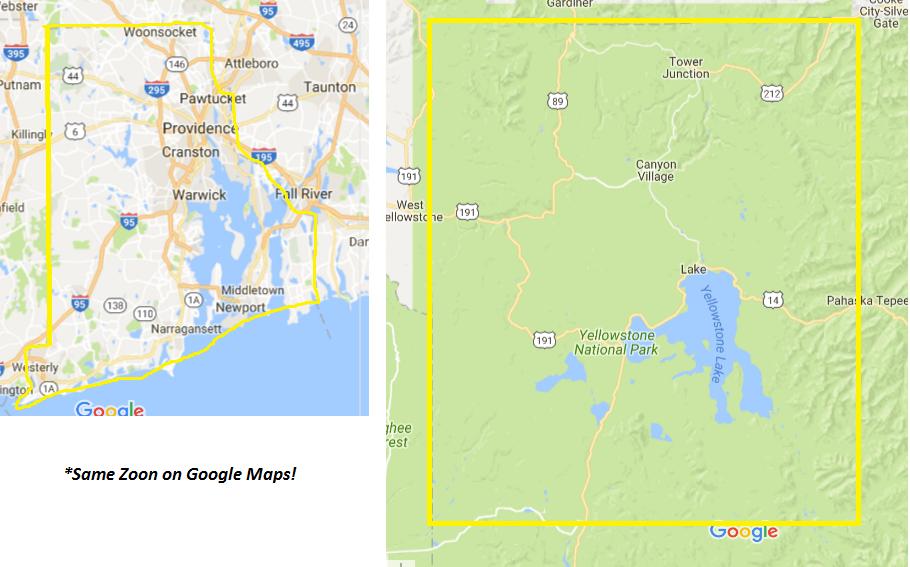 Yellowstone vs rhode island size comparison