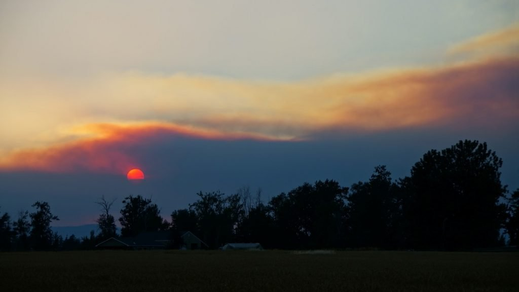 wildfire smoke sunset