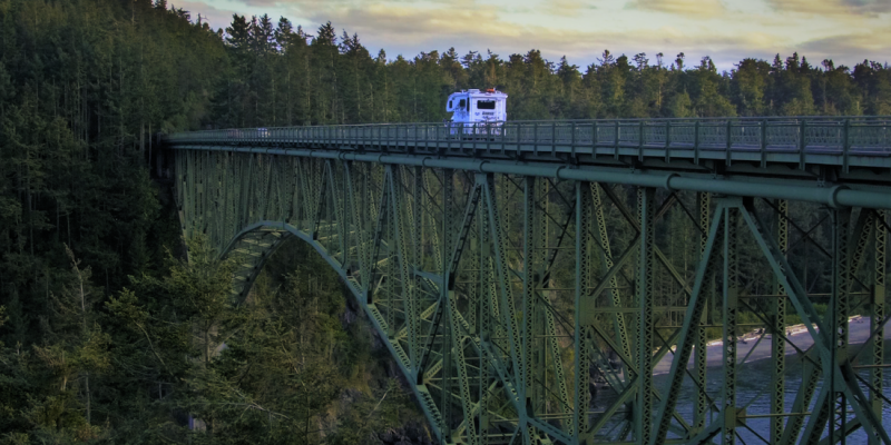 truck camper on bridge
