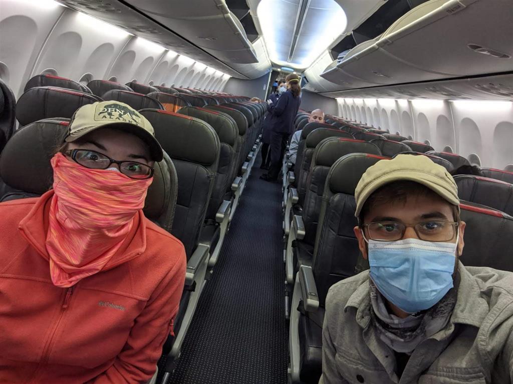 we were 2 of 6 passengers on covid-19 flight