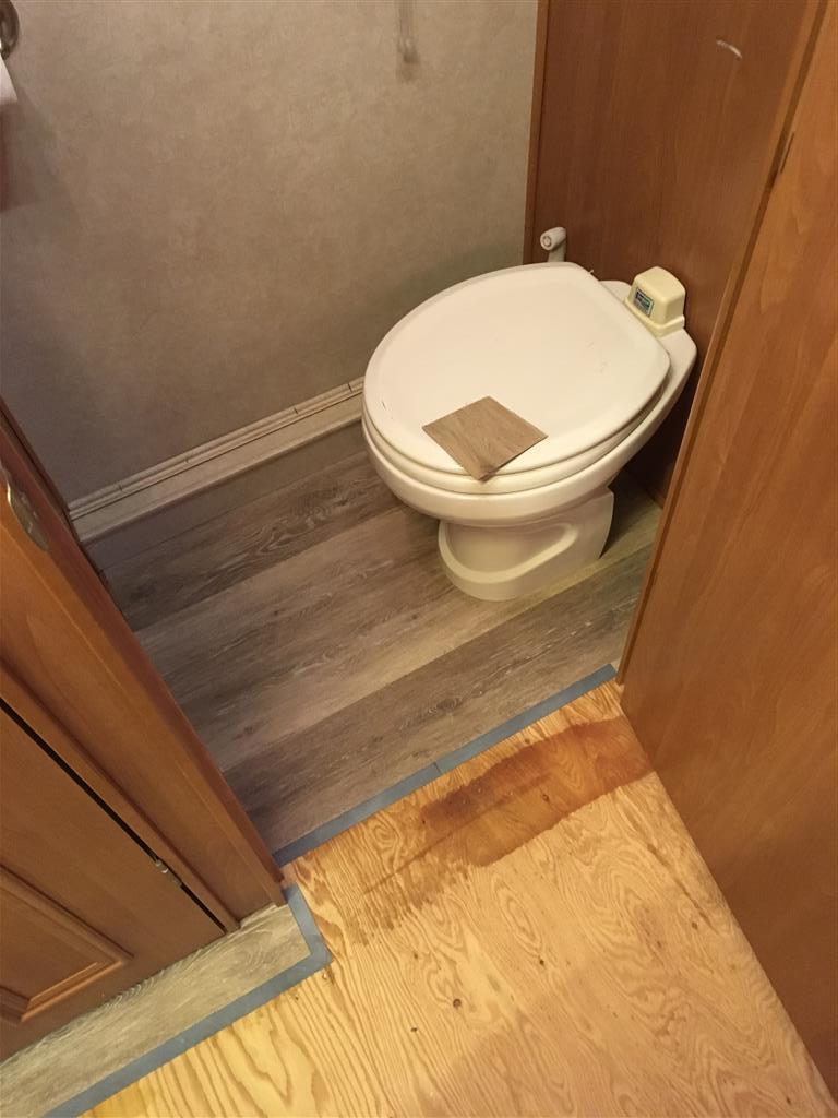 vinyl plank around rv toilet