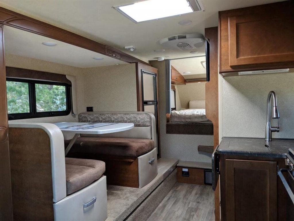inside of the truck camper dinette