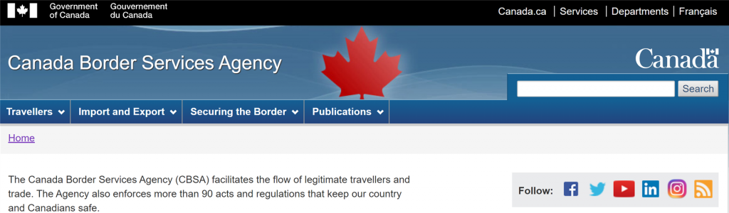 canada border services agency website