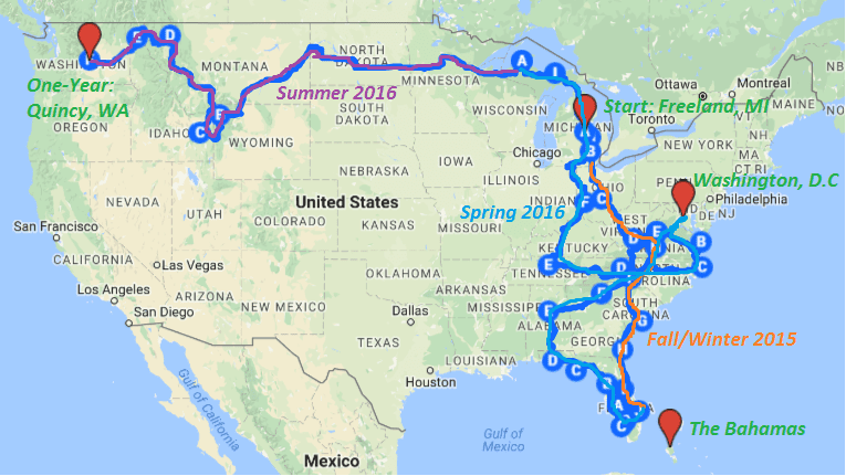 one year of fulltime rv living map