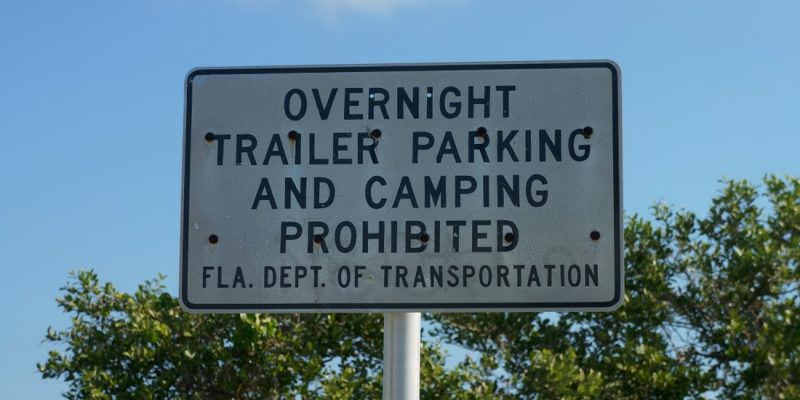 overnight trailer parking and camping prohibited in the florida keys