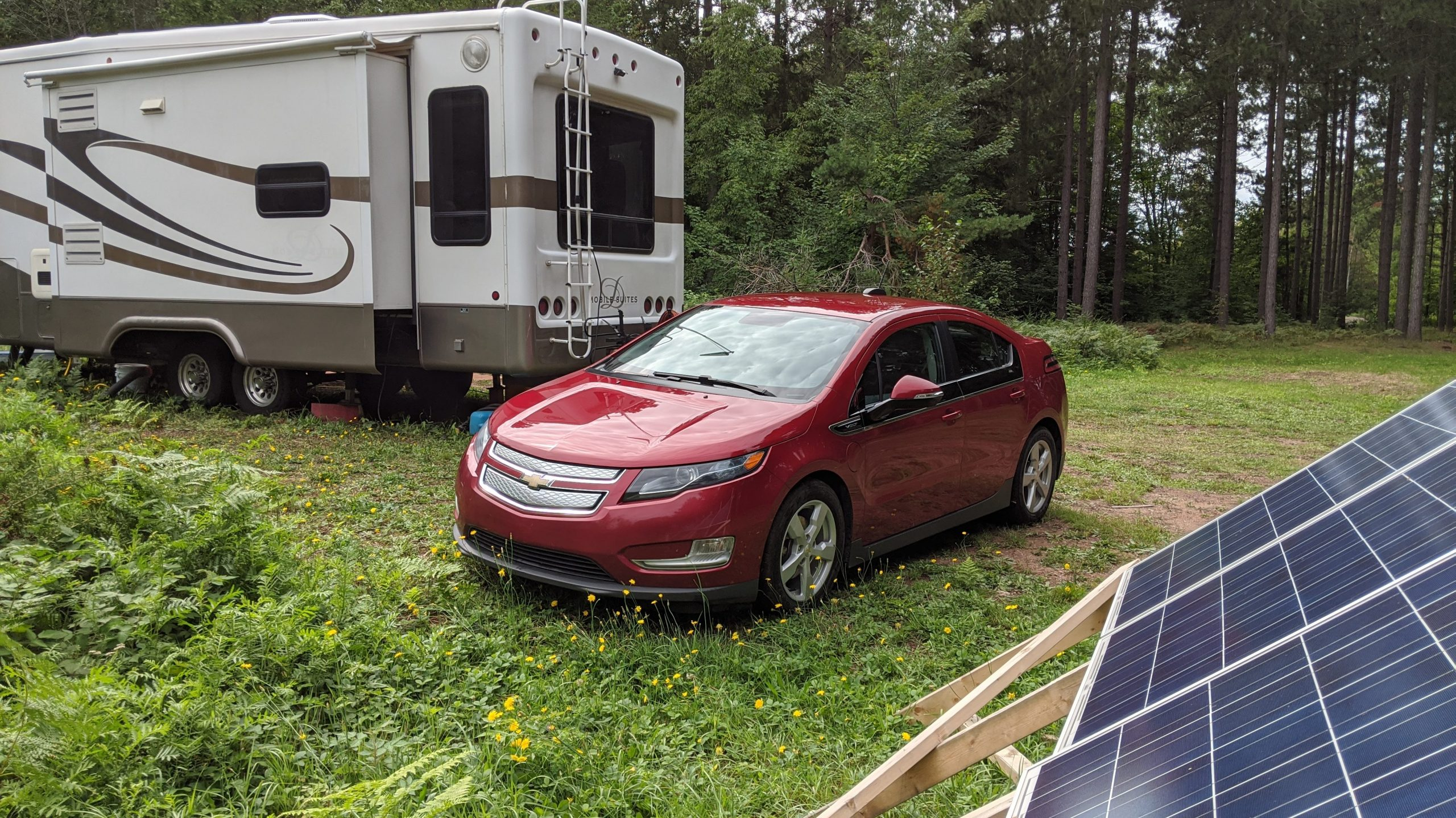 solar-powered car charged from rv