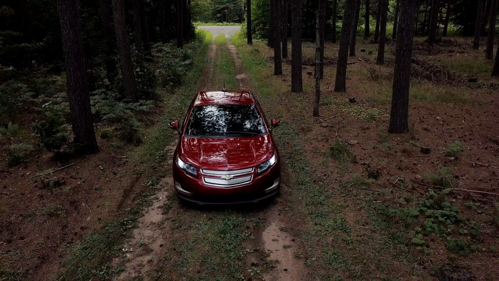 electric car in woods