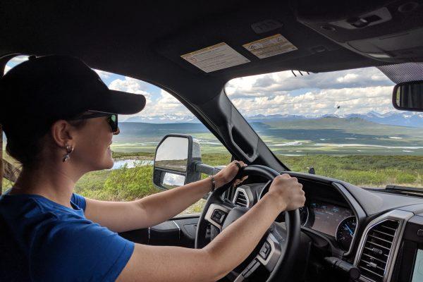 Caitlin driving to Alaska