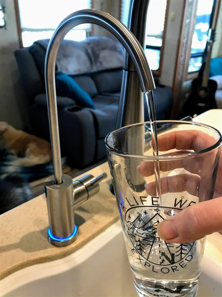 acuva water purifier installed rv kitchen sink