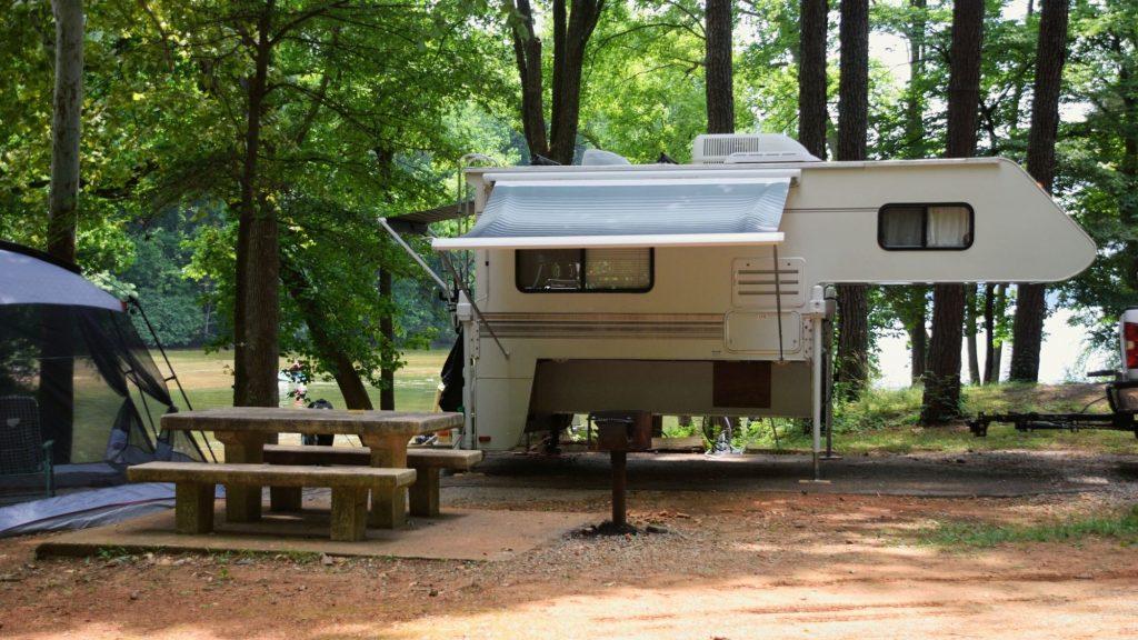 truck camper campsite