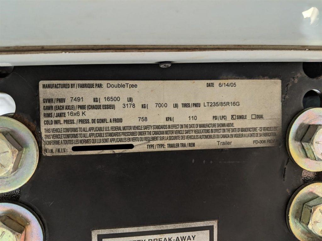 rv weight information sticker