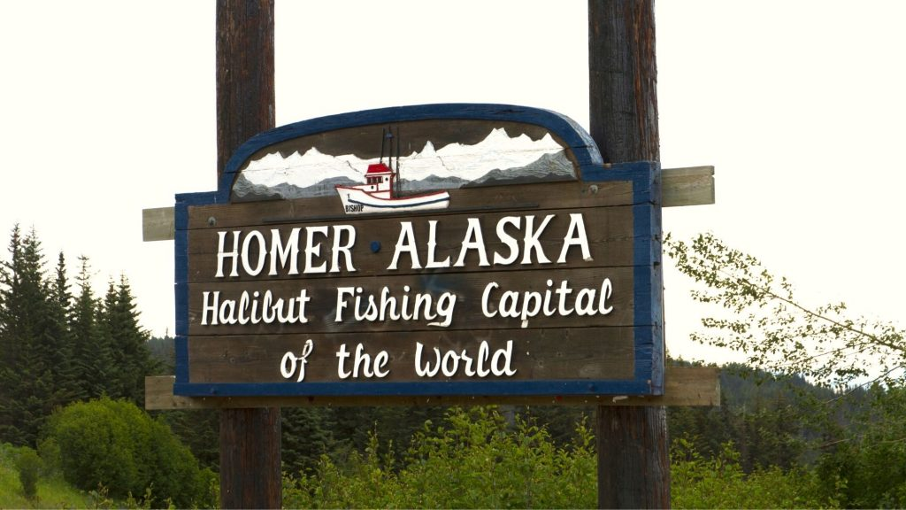 homer alaska halibut fishing capital of the world sign