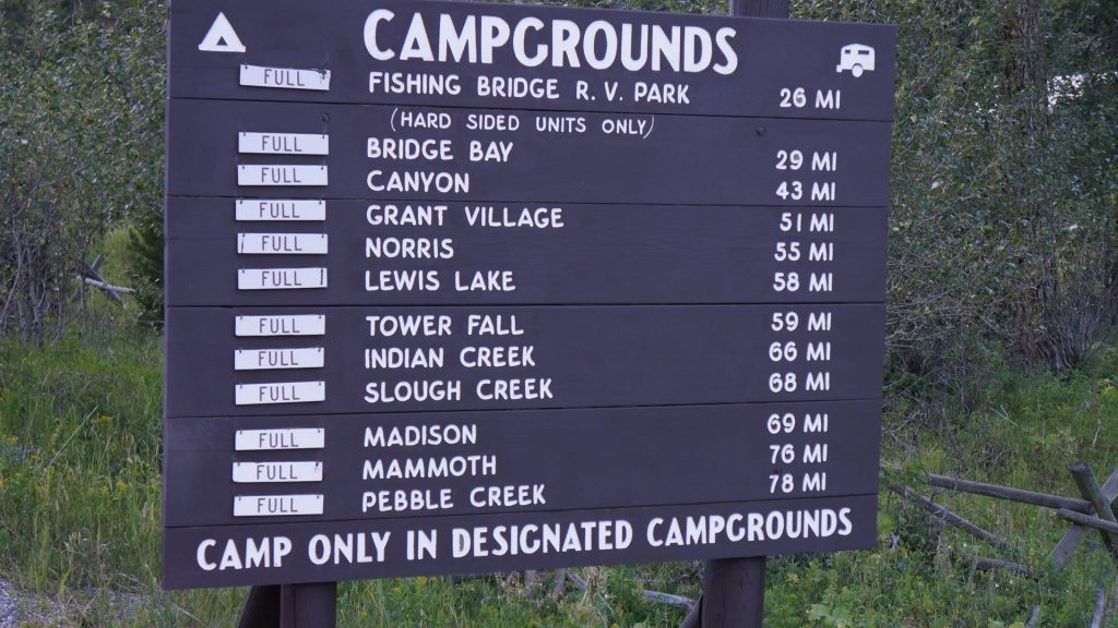 yellowstone campgrounds sign