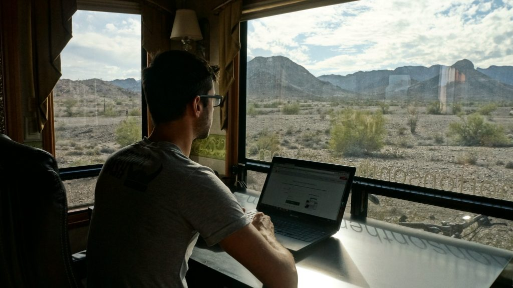 using a computer in RV at boondocking site