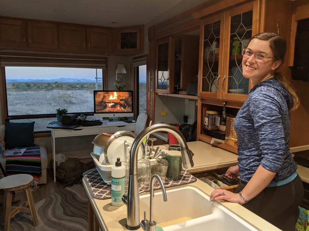 doing dishes in an rv kitchen