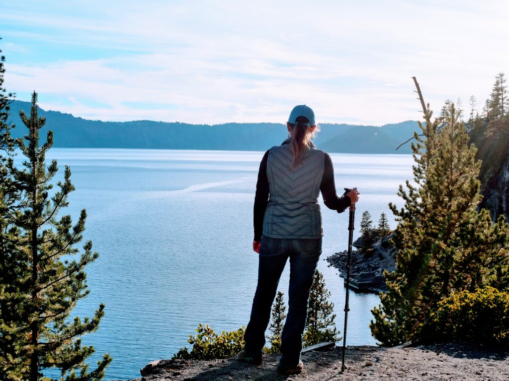 Cait Morton looking off over crater lake