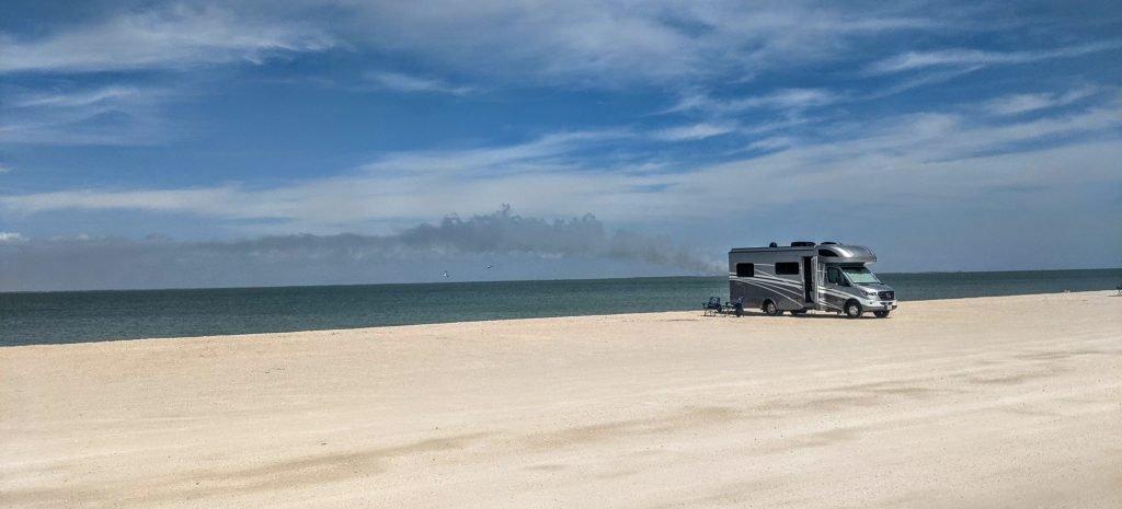 RV generator on beach