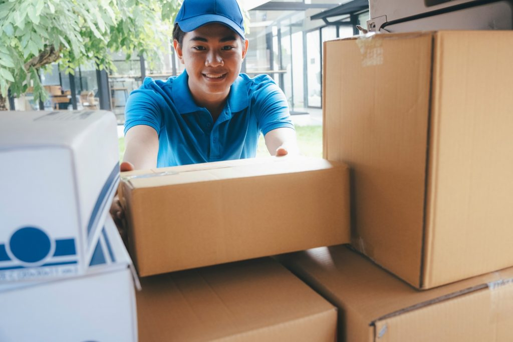 delivery man moving packages