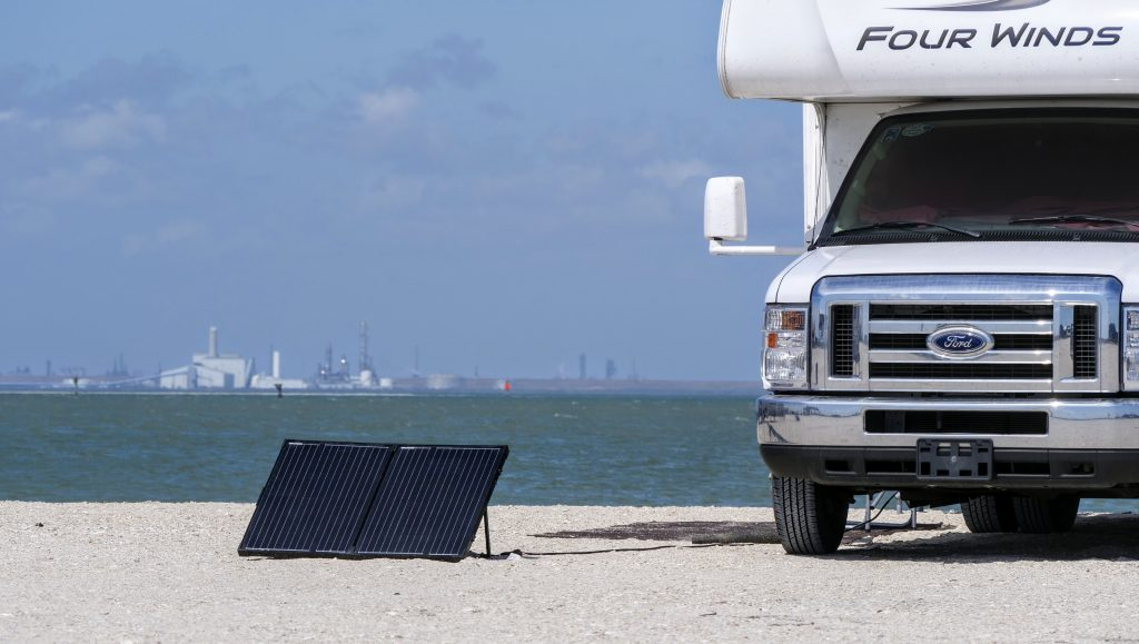 portable solar panels hooked up to rv