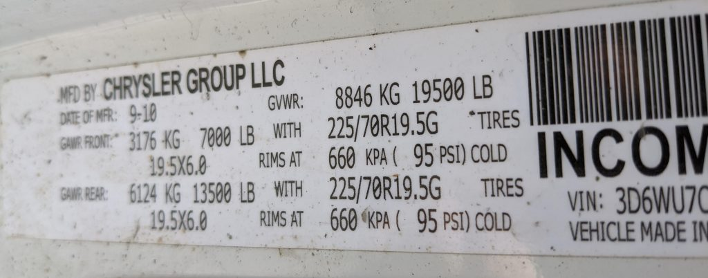 weight sticker on a RAM 5500 with GVWR