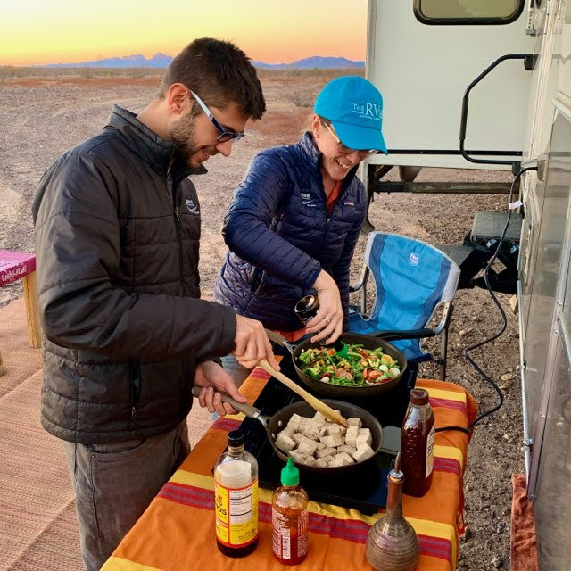 cooking on induction cooktop outside RV
