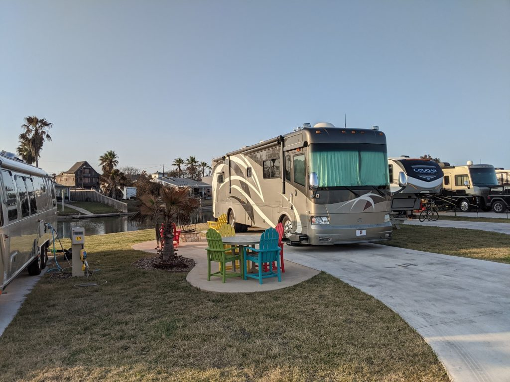 class a motorhome at campground