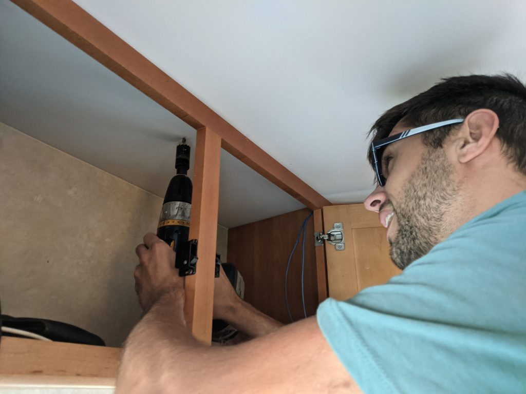 Drilling a hole in rv celing roof