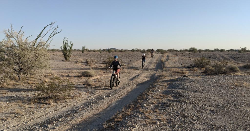 Riding desert two-tracks on e-bikes