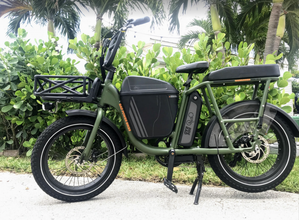 RadRunner 1 E-Bike with Passenger Package and Center Console in forest green