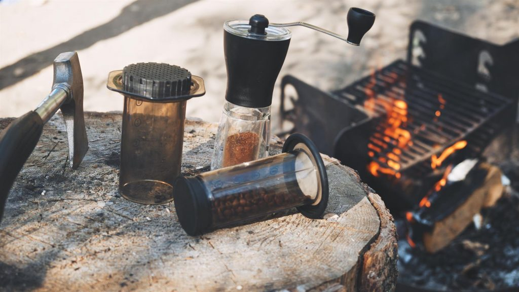 Camping coffee with an Aeropress