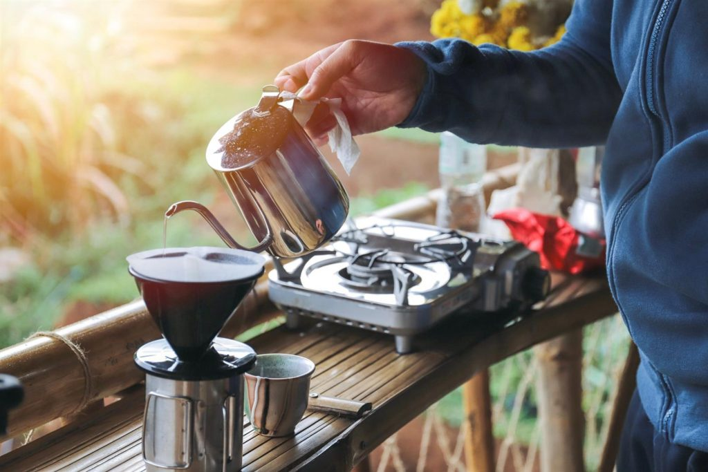 camping coffee made with a pourover coffee maker