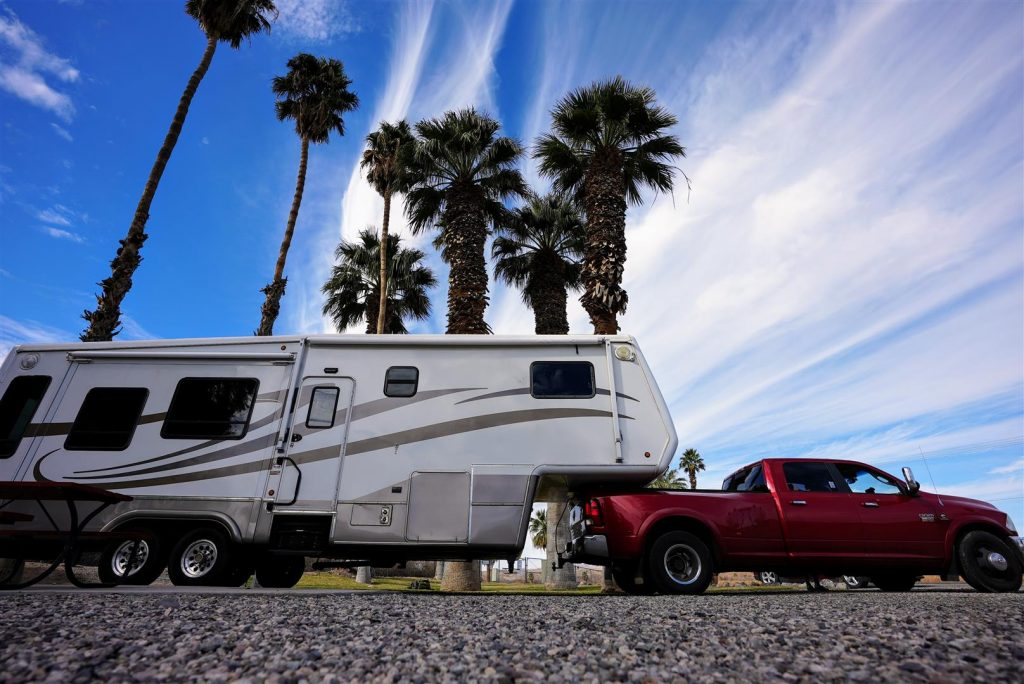 rv with palm trees