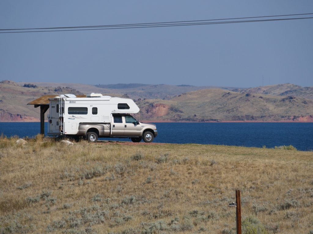 Truck camper with view of lake
