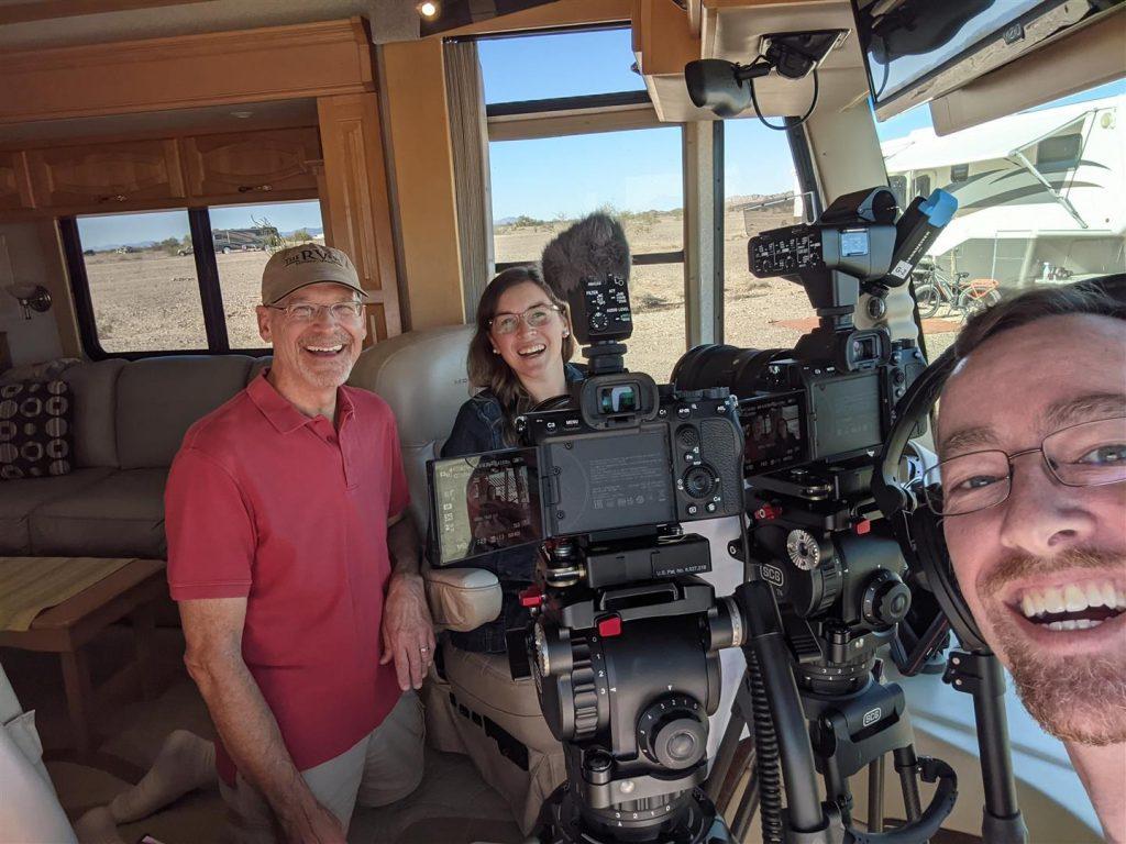 on the set filming the rvers tv show peter knize caitlin morton john sullivan