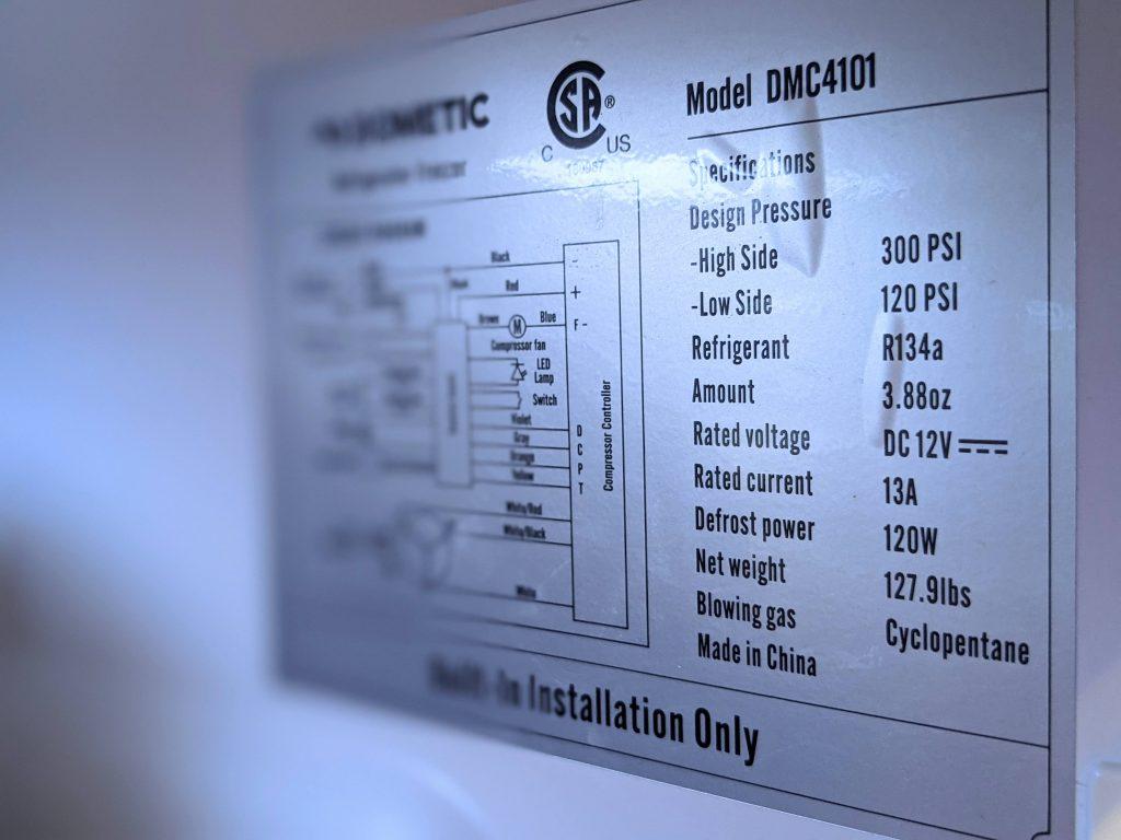 12 volt fridge information panel