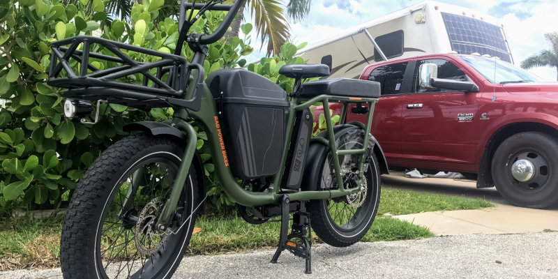 ebike with camper in background