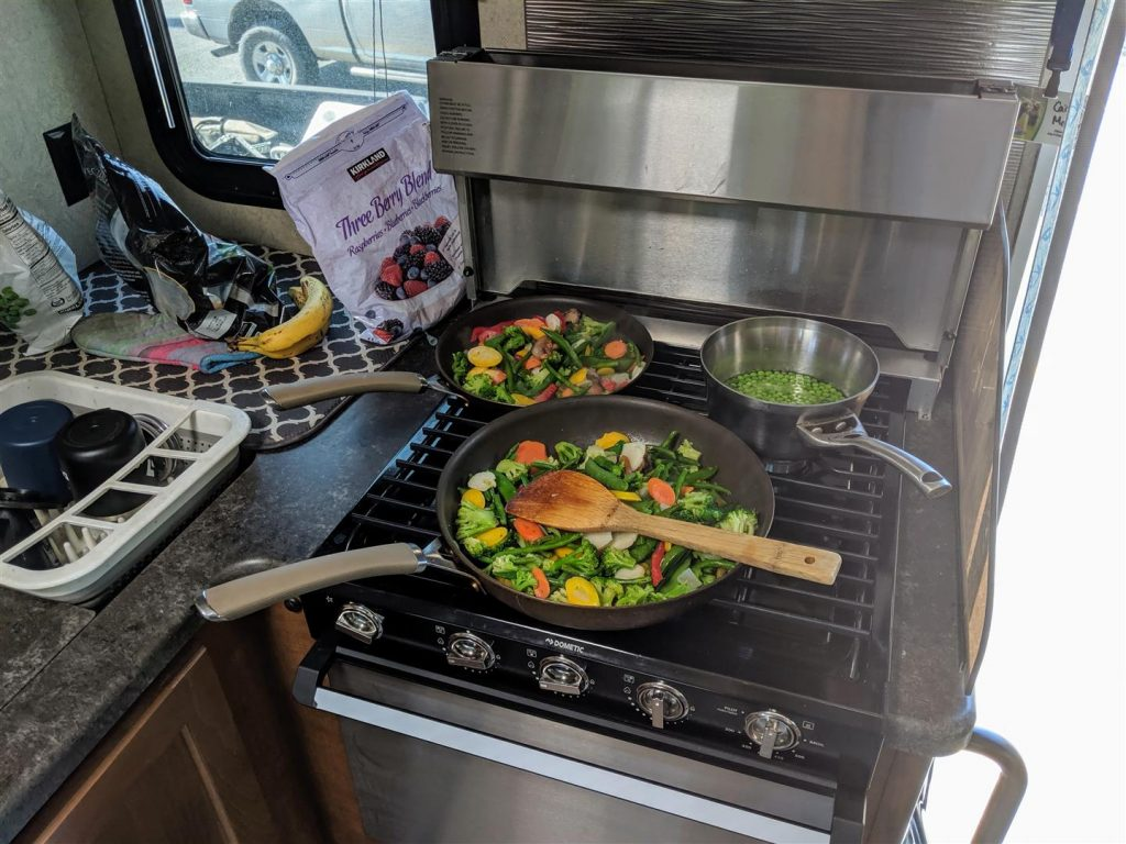 cooking on a 3 burner RV stove
