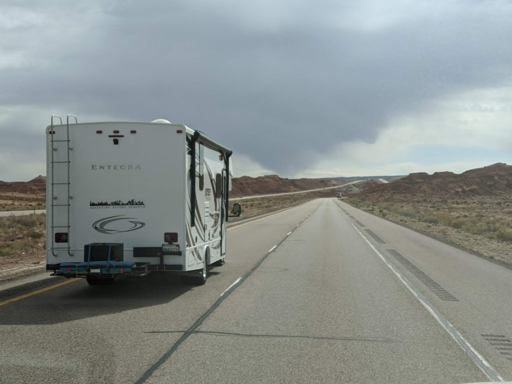 rv on the road in utah