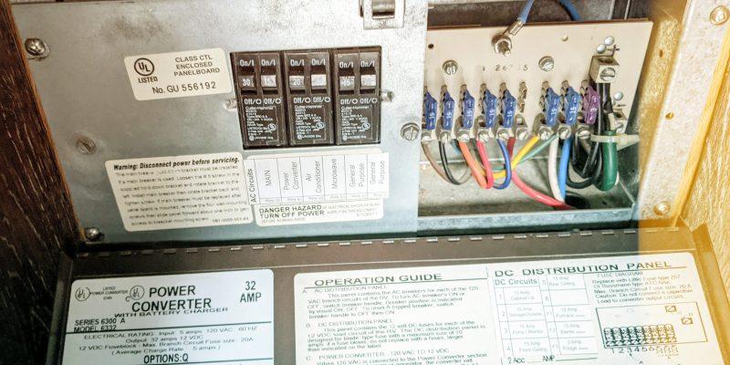 RV power converter panel open