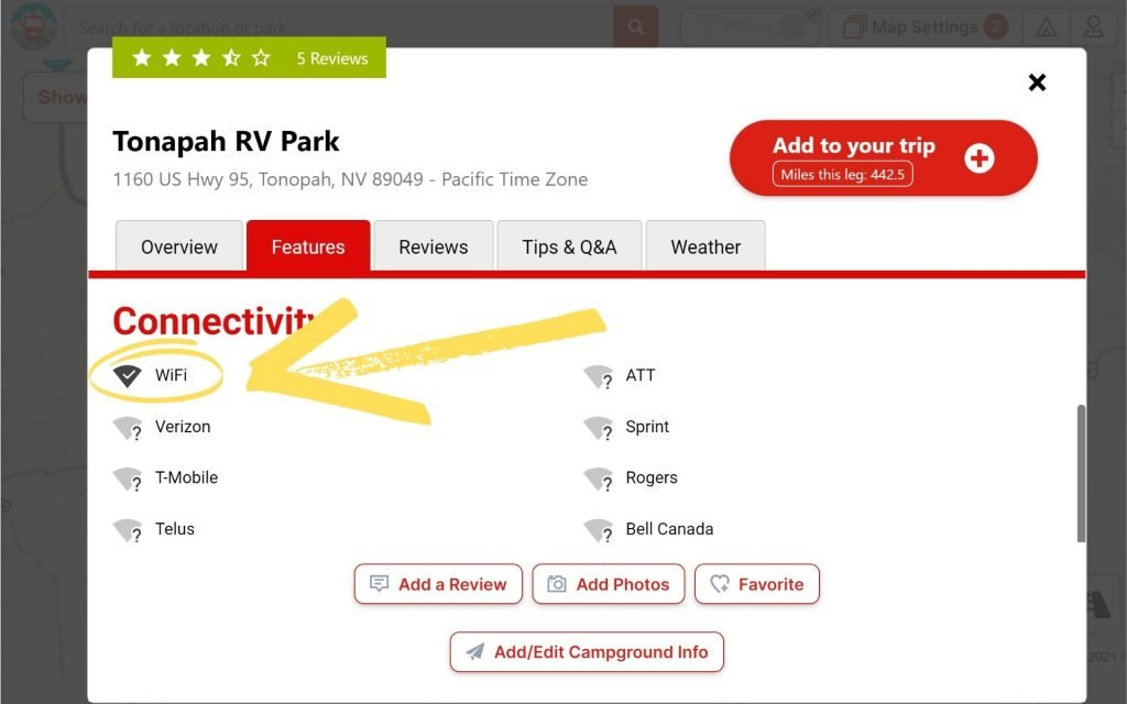 Find campgrounds with WiFi by using RV Trip Wizard