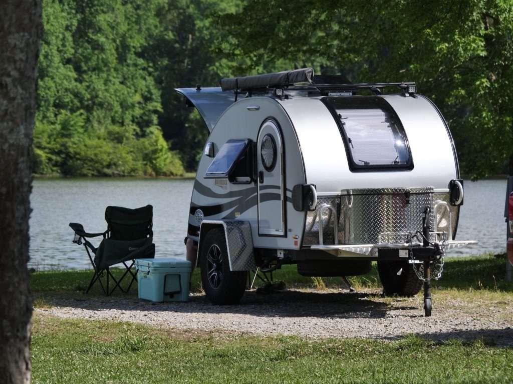 teardrop camper with back galley open