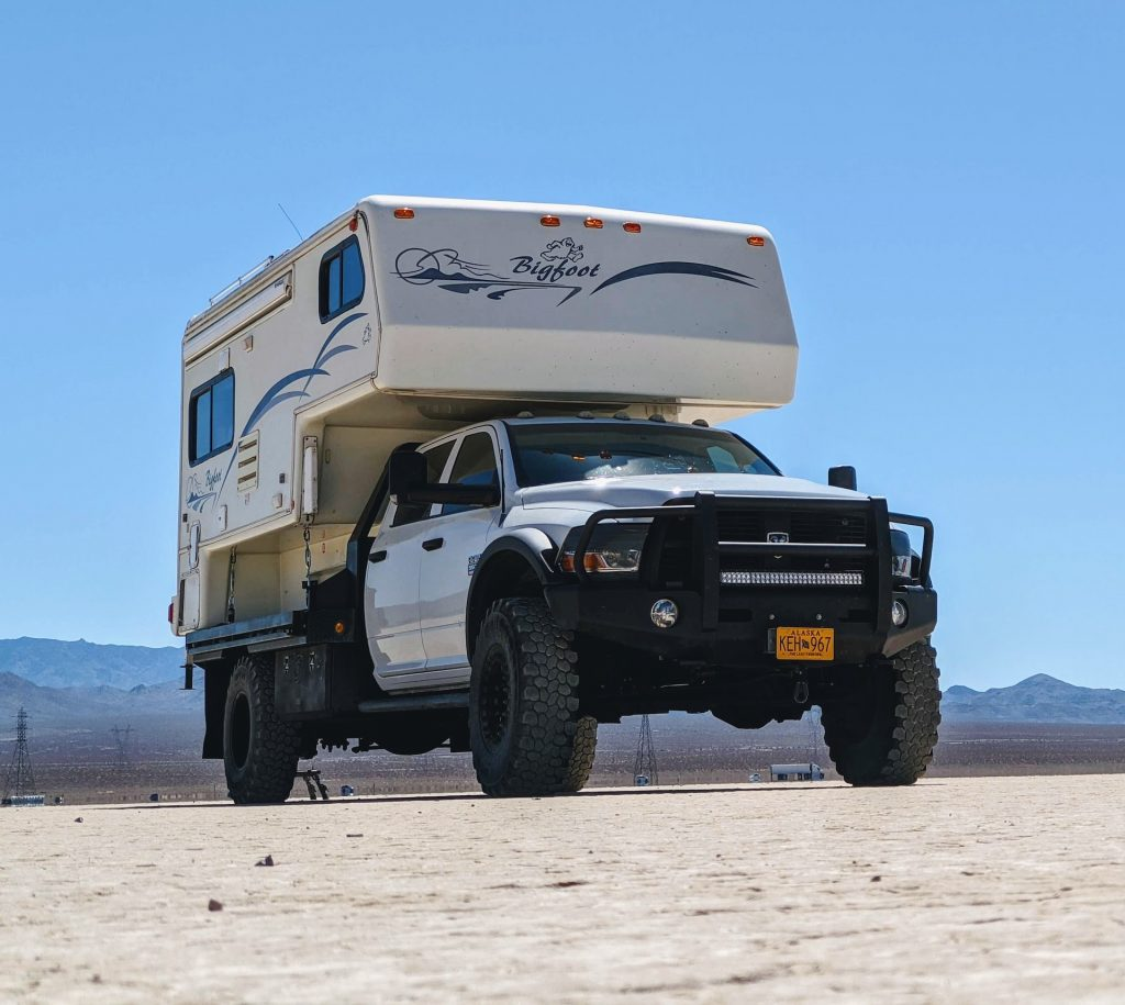 mortons truck camper on flatbed truck