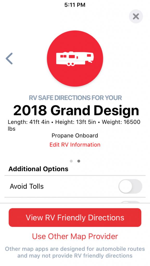 RV Trip Wizard App RV height Navigation