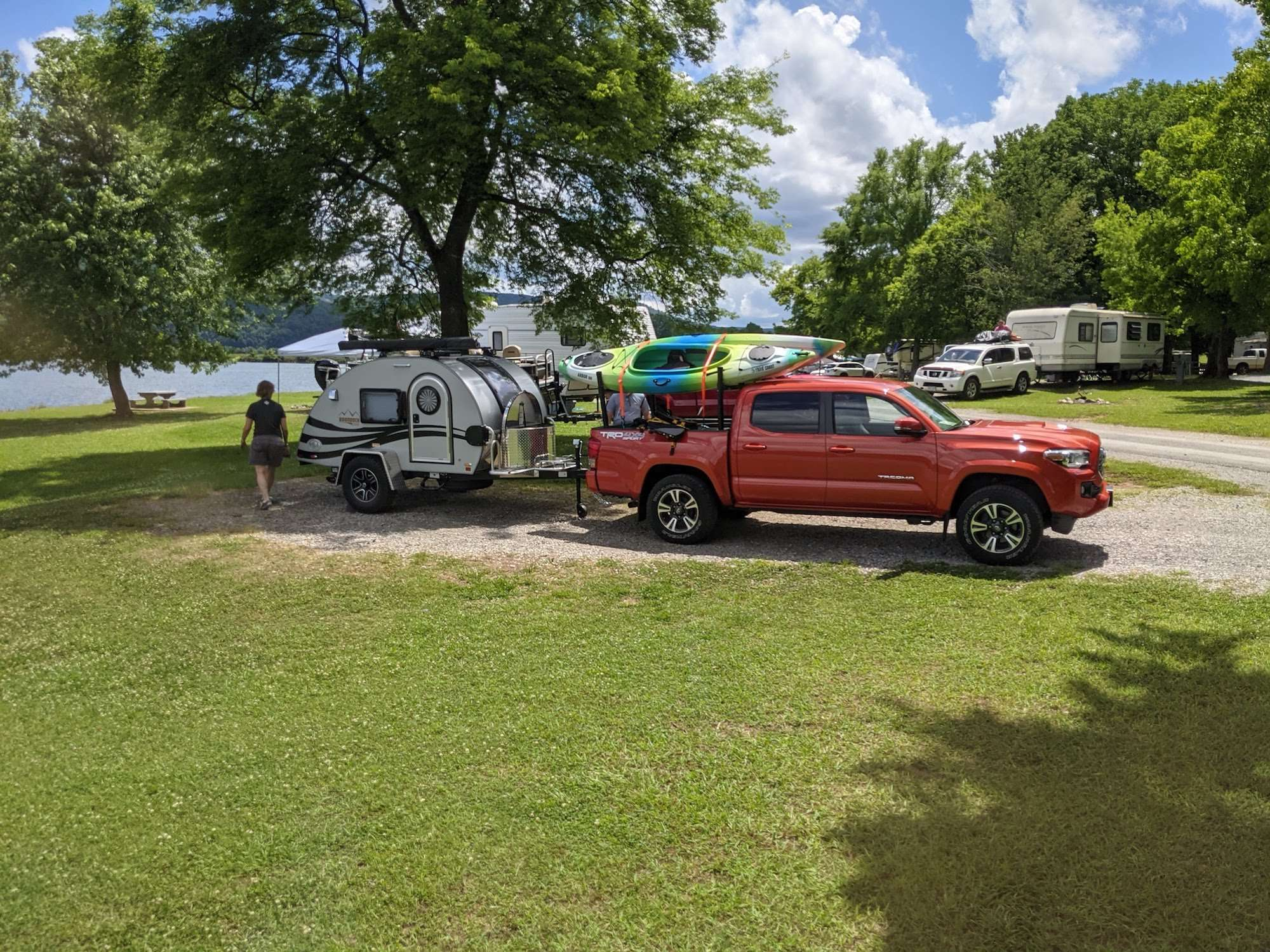 Small teardrop campers can be towed by a small truck or SUV.