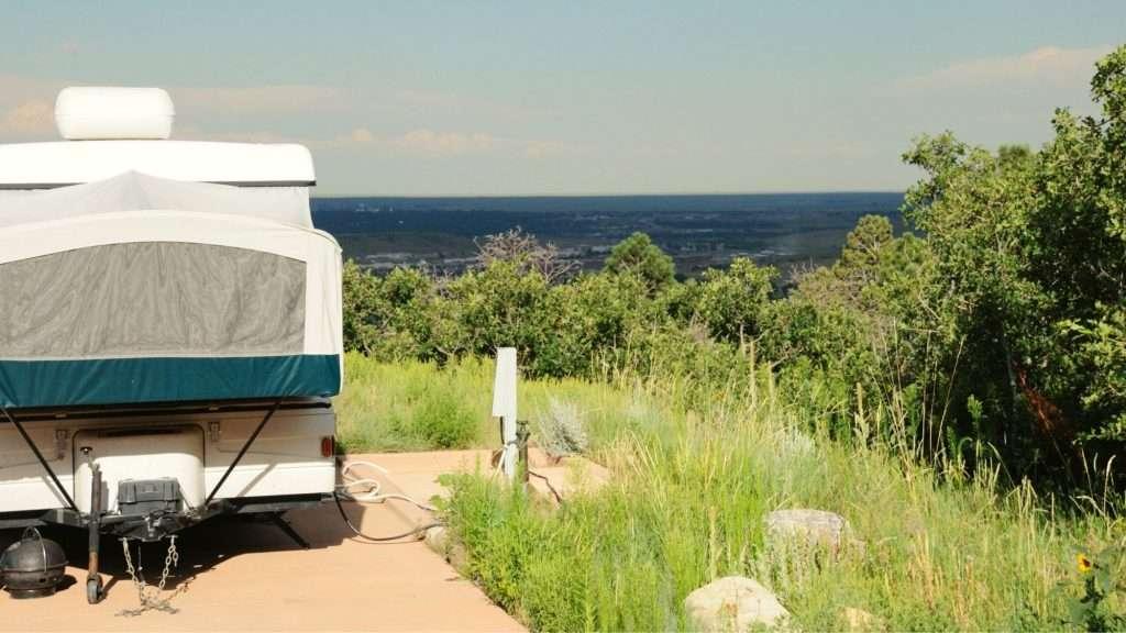 pop up camper on hill